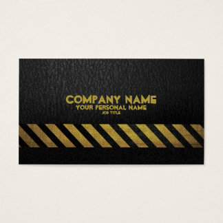 Black Asphalt Construction Build  Hazard Stripe Business Card