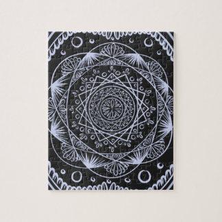 Black, Awakening zen pattern, healing, chakra Jigsaw Puzzle
