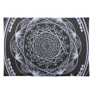 Black, Awakening zen pattern, healing, chakra Placemat