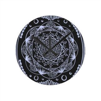 Black, Awakening zen pattern, healing, chakra Round Clock
