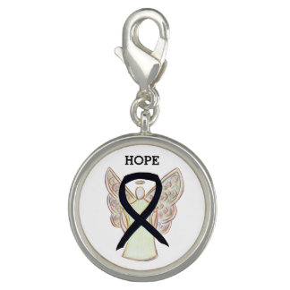 Black Awareness Ribbon Angel Charm Bracelet