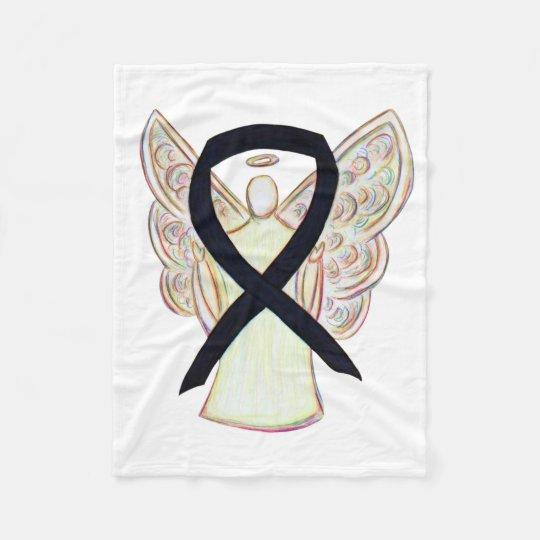Black Awareness Ribbon Angel Soft Blanket