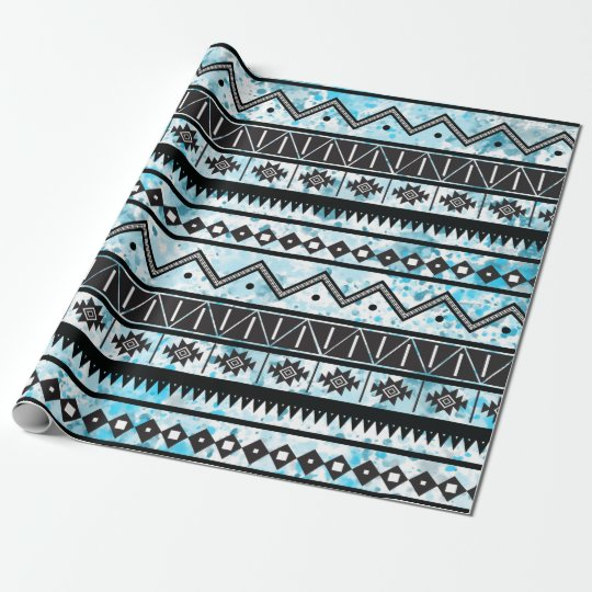 Black Aztec Tribal Pattern & Blue Watercolor Wrapping Paper