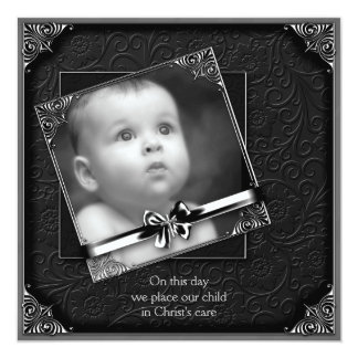 Black Baby Boy Photo Christening Card