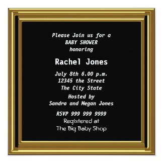 """Black  Baby Shower Party 5.25"""" Square Invitation Card"""