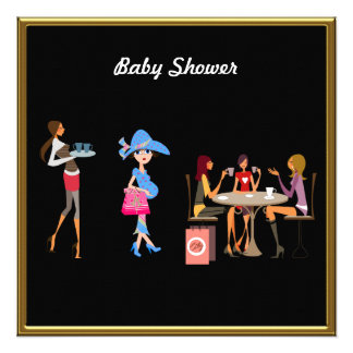 Black  Baby Shower Party Custom Announcements