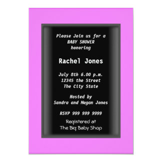 """Black  Baby Shower Party 5"""" X 7"""" Invitation Card"""