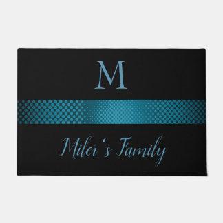 Black Background And Blue Grey Stripes Doormat