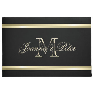 Black Background And Gold Stripes Doormat