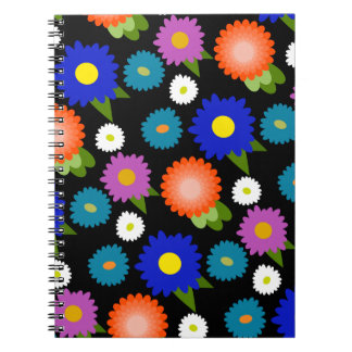 Black Background Flowers Floral Cute Feminine Girl Notebook