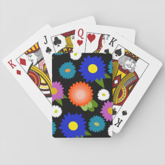 Black Background Flowers Floral Cute Feminine Girl Playing Cards