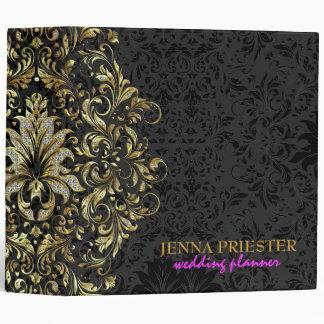 Black Background Glitter & Gold Floral Lace 2 Binder
