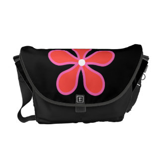 Black Bag with Flower Messenger Bags