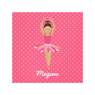 Black Ballerina on Pink Polka Dots Canvas Print