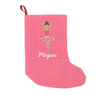 Black Ballerina on Pink Polka Dots Small Christmas Stocking