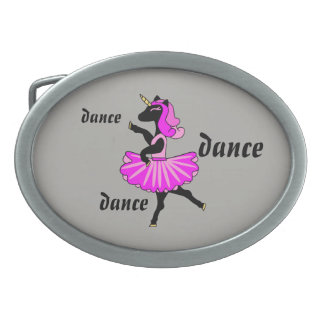 Black Ballerina unicorn oval belt buckle