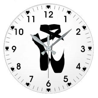 Black Ballet Slippers Large Clock