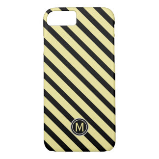 Black & Banana Yellow Diagonal Stripe Monogram iPhone 8/7 Case
