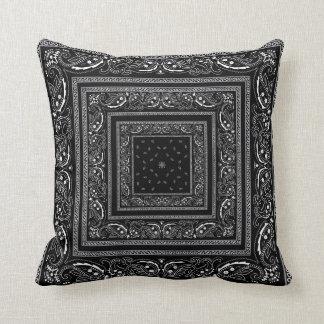 Black Bandanrama Throw Pillow