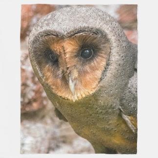 Black barn owl fleece blanket