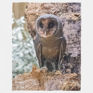 Black barn owl fleece blanket