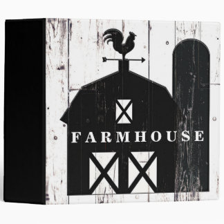 Black Barn Weathered White Wood Rustic Farmhouse Binder