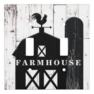 Black Barn White Wood Rustic Farmhouse Country Light Switch Cover