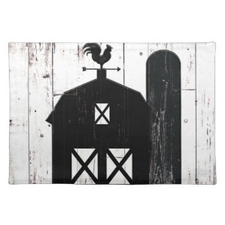 Black Barn White Wood Rustic Farmhouse Country Placemat