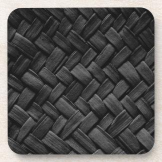 black basket weave pattern coaster