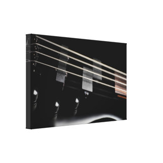 Black Bass Guitar Close-Up Canvas Print