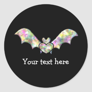 Black Bat and Heart Personalized Halloween Bat Classic Round Sticker