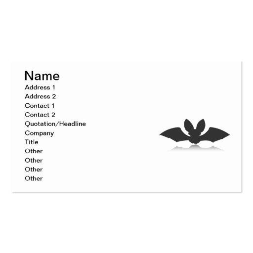 Black Bat Silhouette Pack Of Standard Business Cards