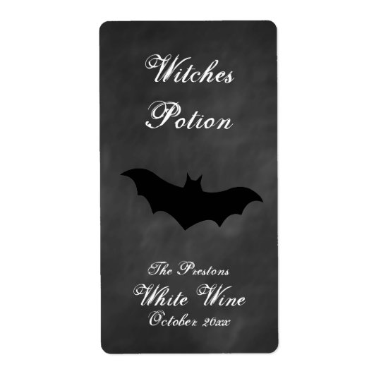 Black Bat Witches Potion Wine Label Shipping Label