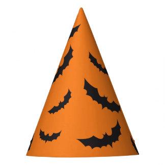 Black bats on orange background Halloween Party Hat