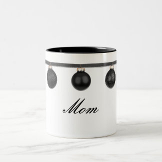 Black Baubles on Ribbon Mom Christmas Mug