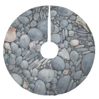 Black Beach Rocks Pebbles Stones Brushed Polyester Tree Skirt