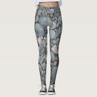 Black Beach Rocks Pebbles Stones Leggings