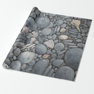 Black Beach Rocks Pebbles Stones Wrapping Paper