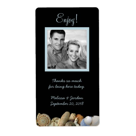 Black Beach Wedding Photo Personal Wine Labels