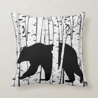 Black Bear and Deer Birch Forest Throw Pillow