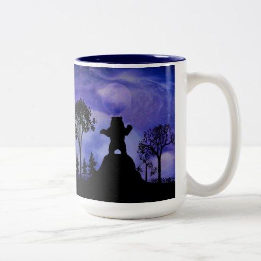 Black bear and the moon mugs