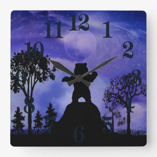 Black bear and the moon square wall clock