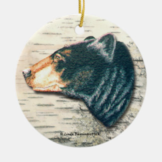 Black Bear Birch Bark Art Ceramic Ornament