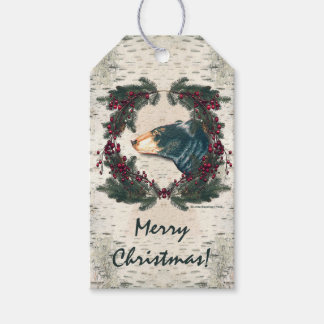 Black Bear Birch Bark Pine Berries Gift Tags