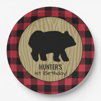 Black Bear Buffalo Plaid Lumberjack Plate 9 Inch Paper Plate