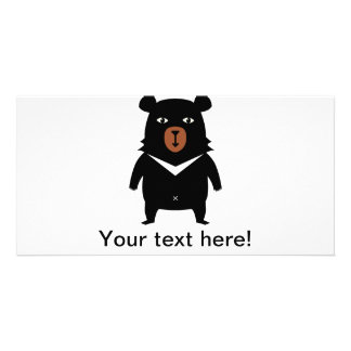 Black bear cartoon customized photo card