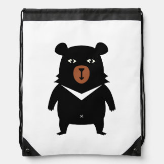 Black bear cartoon drawstring bag