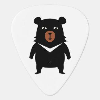 Black bear cartoon guitar pick