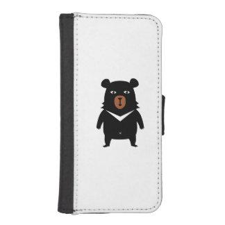 Black bear cartoon iPhone SE/5/5s wallet case