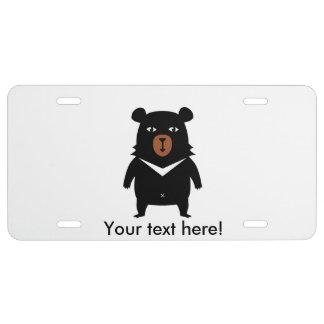 Black bear cartoon license plate